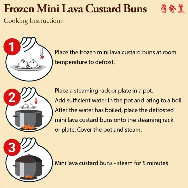 Frozen mini lava custard bun cooking instructions
