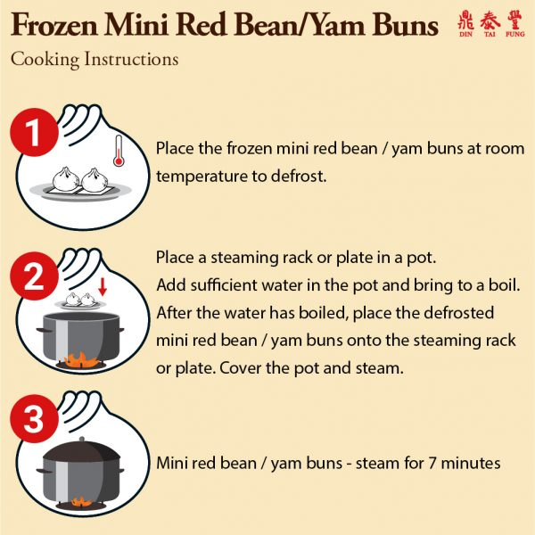 Frozen mini yam red bean bun cooking instructions